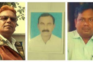 कोविड संक्रमण के चलते जान गंवाने वाले यूपी के शिक्षक विजय बहादुर, केशव प्रसाद और रामभजन निषाद. (बाएं से दाएं)