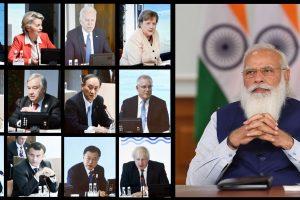 बीते 13 जून को जी 7 की बैठक में वीडियो कॉन्फ्रेंसिंग के जरिये शामिल हुए प्रधानमंत्री नरेंद्र मोदी. (फोटो: पीआईबी)
